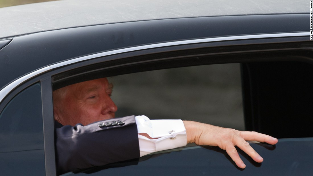 Trump looks out the window of his limousine after visiting Newick's Lobster House on April 27, 2011, in Dover, New Hampshire.