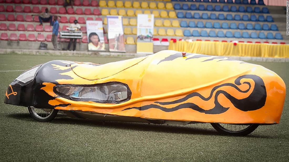 "Made from fiberglass, the ""Autonov III"" from the University of Lagos is shaped like a teardrop to minimize drag."