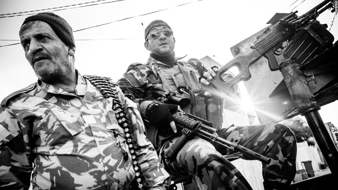 Members of the Assyrian Christian militia Dwekh Nawsha man a machine gun in Dohuk, Iraq in March 2015. Assyrians belong to the rapidly dwindling Christian population of Iraq, which has been targeted by ISIS.