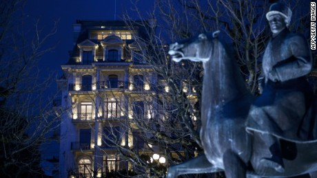 A view of the Beau Rivage Palace Hotel as Iran nuclear program talks continue into the night on a deadline day March 31, 2015 in Lausanne. Officials are meeting in Switzerland for negotiations on Iran's nuclear program. AFP PHOTO POOL / BRENDAN SMIALOWSKIBRENDAN SMIALOWSKI/AFP/Getty Images