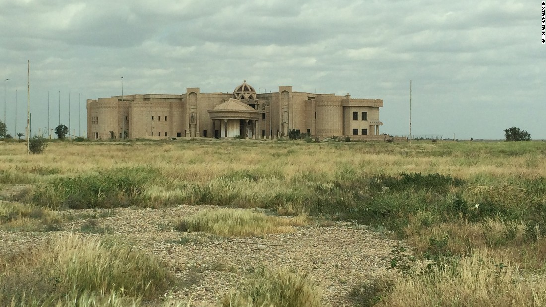 A palace of former Iraqi dictator Saddam Hussein, caught in the battle between ISIS militants and Iraqi forces, is pictured in his hometown of the northern city of Tikrit, Iraq on April 1, 2015.