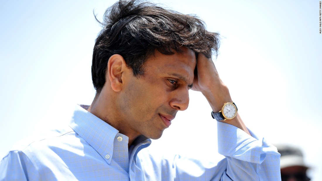 Jindal listens to reporters' questions in Venice, Louisiana, on May 12, 2010, after the BP oil spill, which has been called the largest environmental disaster in American history.