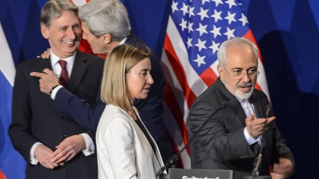 British Foreign Secretary Philip Hammond, U.S. Secretary of State John Kerry, EU foreign policy chief Federica Mogherini and Iranian Foreign Minister Mohammad Javad Zarif arrive prior to the announcement of an agreement on Iran nuclear talks on April 2, 2015 at the The Swiss Federal Institutes of Technology in Lausanne