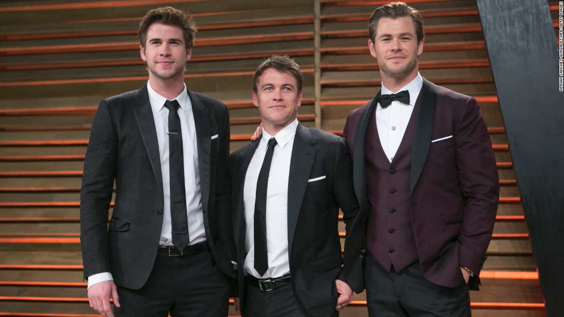 From left, Liam, Luke and Chris Hemsworth are a handsome trio of brother actors from Down Under.