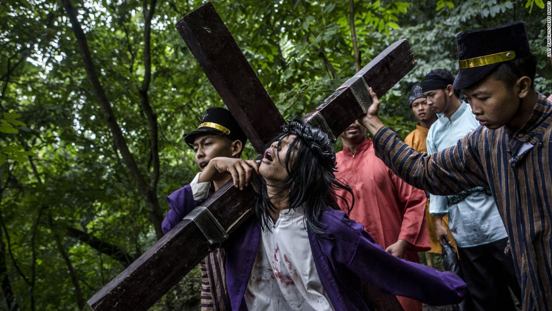 Catholics in Wonogiri, Indonesia, re-enact Christ's crucifixion on April 3.