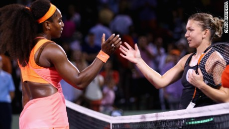 Serena Williams, left, advanced to the Miami Open final after beating Simona Halep in a three-set classic.