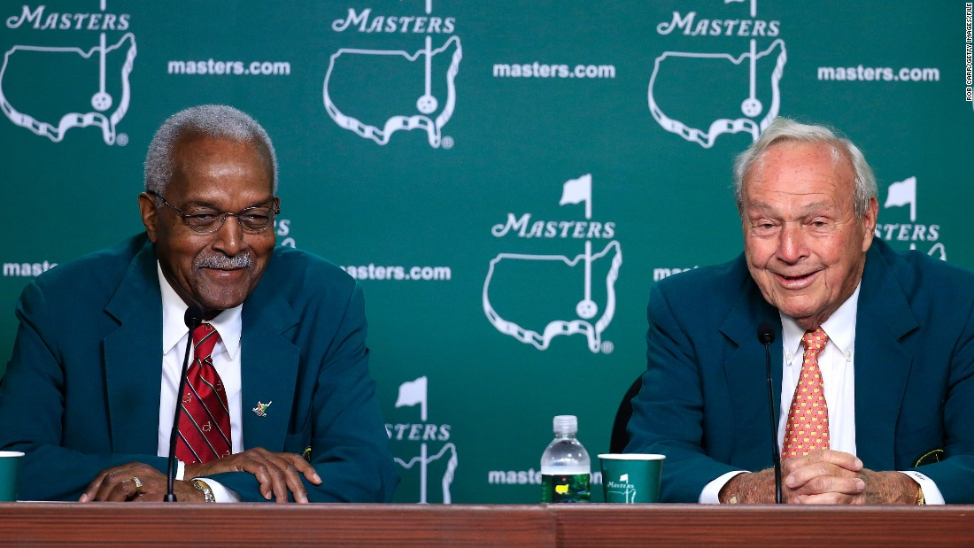 In 1990, Ron Townsend became the first Africa-American member at Augusta National. The TV executive is pictured left with four-time Masters winner Arnold Palmer in 2014.