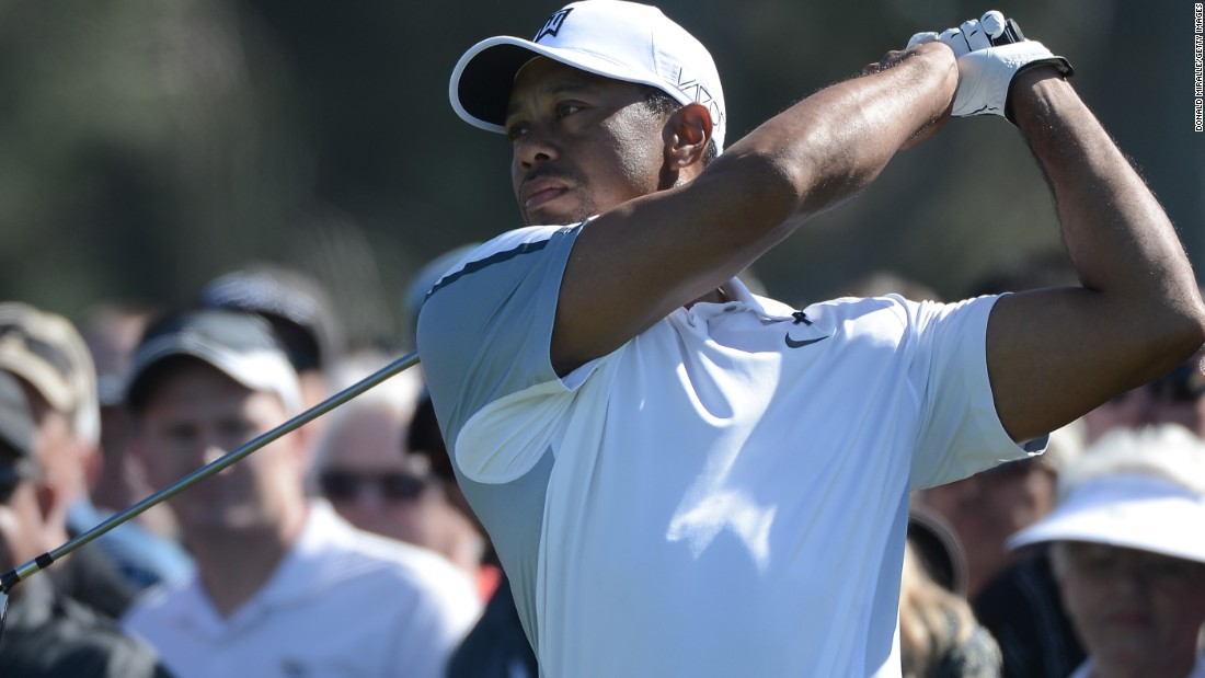 Will Tiger Woods be one of Watson's rivals? A comeback could be on the cards for the four-time Masters winner -- pictured here at Torrey Pines in February 2015 -- who was seen playing a practice round at Augusta last week.