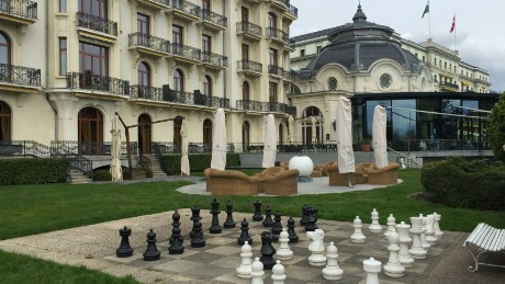 An oversize chess board in Lausanne where world powers thrashed out the deal.