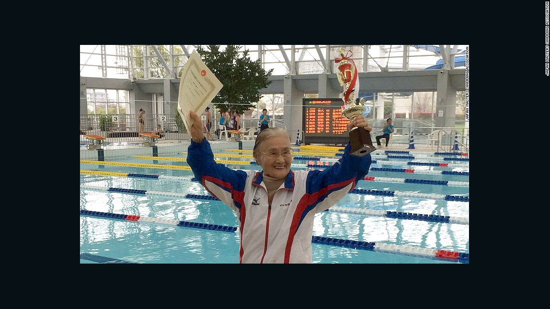 "Mieko Nagaoka, a 100-year-old Japanese woman who became the world's first centenarian to complete a 1,500-meter freestyle swim, hopes to swim until she is 105. She took up swimming<a href=""http://edition.cnn.com/2015/04/06/sport/100-year-old-swimmer-record-holder/""> at age 80</a> to help with a knee problem. She credits the exercise with her healthy and long life. She trains four days a week."