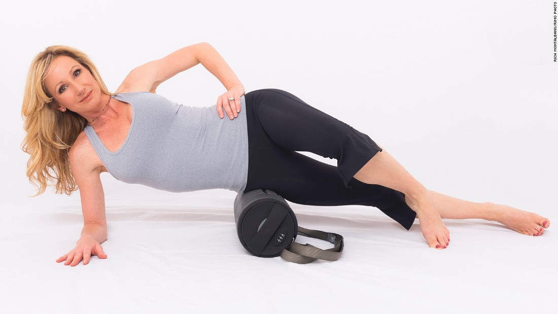 From a side forearm plank, rest your lower leg on top of the roller and place your top foot on the floor for support. Roll from the outside of your hip to just above your knee. If the sensation is too intense, shift more weight into your supporting foot.