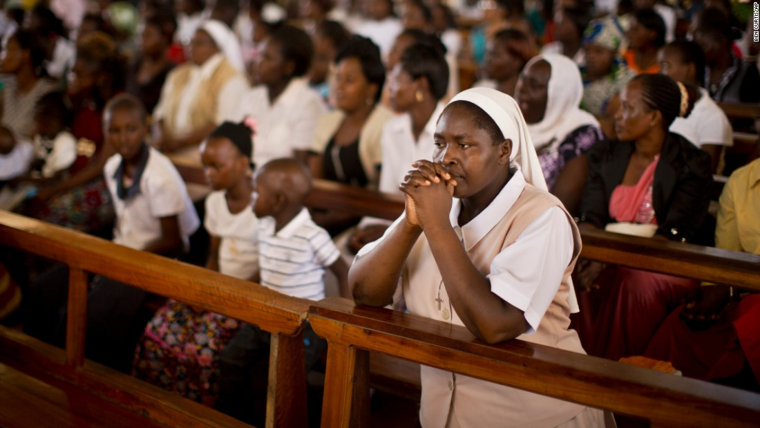 A nun prays during an Easter service at a Garissa church on April 5, 2015.