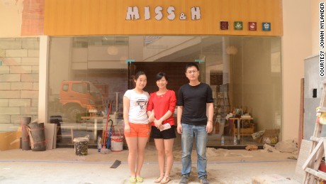 From left: Liu Jingjing, Huang Haiyan and Zie Zhongjie just days before opening their cafe, Miss & H.