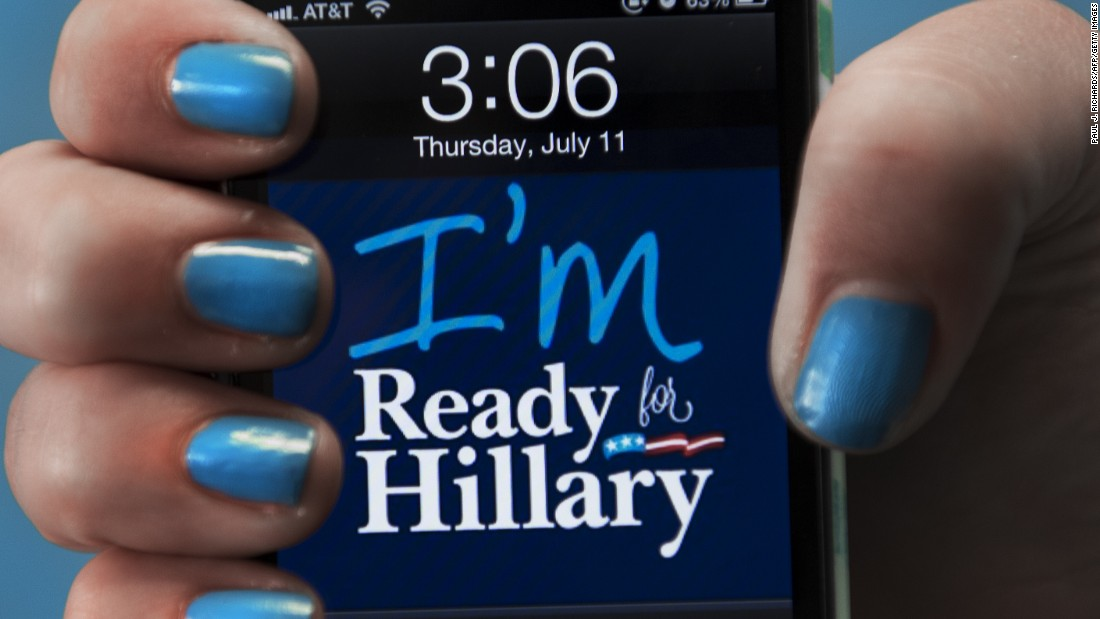 "An iPhone with an ""I'm Ready for Hillary"" background is shown off at the Ready For Hillary Super PAC offices in Alexandria, Virginia."