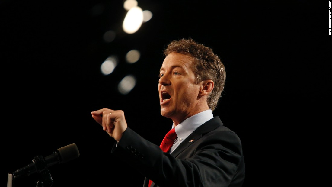 U.S. Sen. Rand Paul delivers remarks while announcing his candidacy for the Republican presidential nomination during an event in Louisville, Kentucky, on Tuesday, April 7.