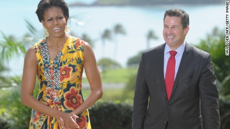 First lady Michelle Obama stands with White House Social Secretary Jeremy Bernard on the island of Oahu in Hawaii on November 13, 2011.