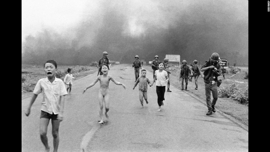 Ut also photographed terrified children running from the site of the attack. Nine-year-old Kim Phuc, center, ripped off her burning clothes while fleeing. The powerful photograph, which won Ut a Pulitzer Prize, communicated the horrors of the war and contributed to the growing anti-war sentiment in the United States. Seven months later, the Paris Peace Accords were signed.