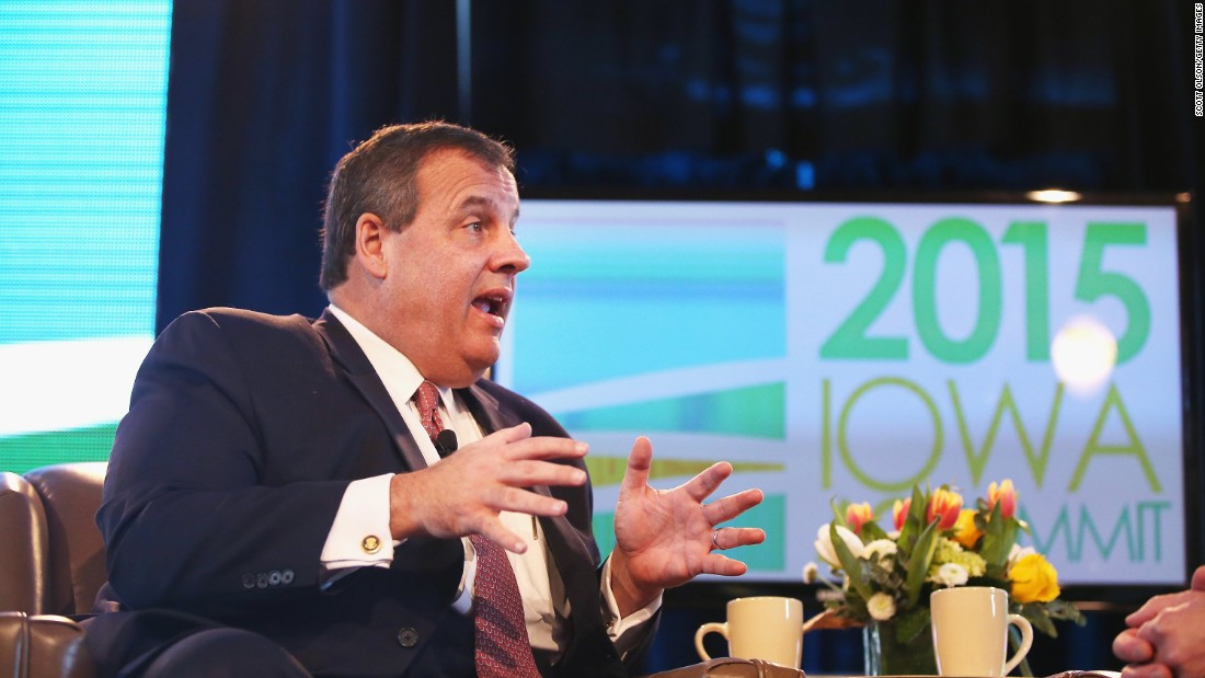 Christie takes questions from Bruce Rastetter at the Iowa Ag Summit on March 7 in Des Moines, Iowa.