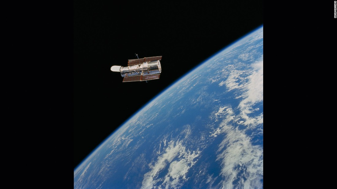 "The Hubble Space Telescope was launched April 24, 1990, from Kennedy Space Center, Florida, aboard the space shuttle Discovery. NASA calls Hubble the ""most significant advance in astronomy since Galileo's telescope."" Hubble has given us new, better views of our solar system and has taken us hundreds of light years away to the edge of the universe."