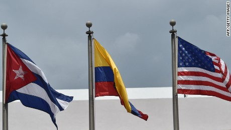Flags are seen in front the Atlapa Convention center for the upcoming VII Summit of the Americas to take place next April 10 and 11, in Panama City, on April 9, 2015. Regional leaders begin to arrive for a historic Summit of the Americas that will see the US and Cuban presidents sit face to face for the first time in decades. AFP PHOTO / RODRIGO ARANGUARODRIGO ARANGUA/AFP/Getty Images
