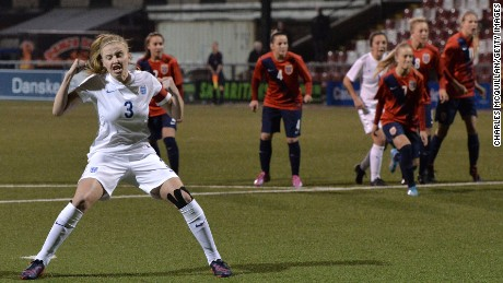 Leah Williamson celebrates after scoring for the England under-19 women's team against Norway.