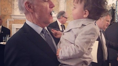 Vice President Joe Biden stole the pacifier right from the mouth of 15-month-old Jasper Bloomberg, the grandson of former New York City Mayor Michael Bloomberg, during a ceremony at the British Embassy on April 8, 2015.