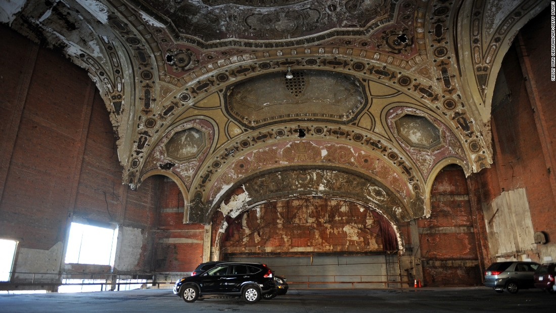 The once grand Michigan Theater is now a car park.
