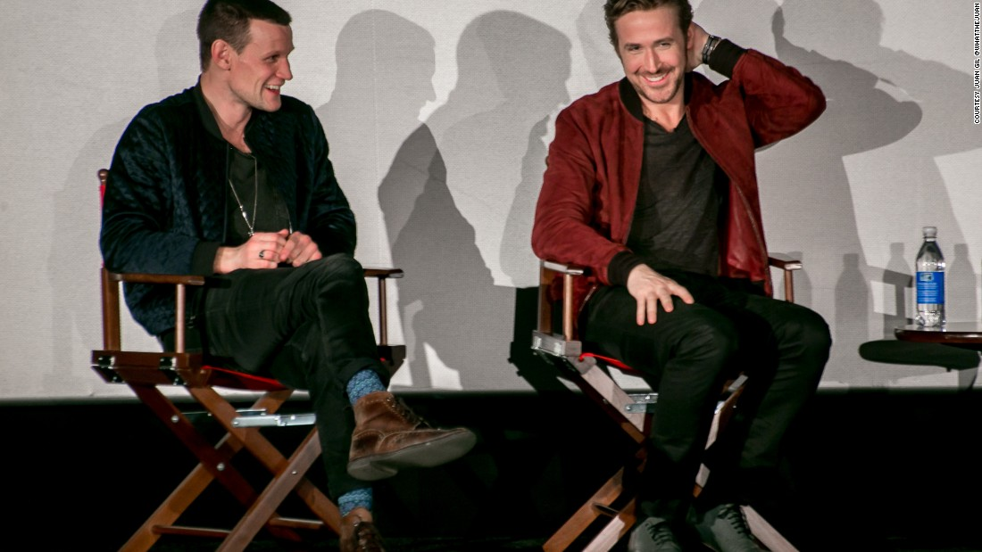 Gosling speaking at the Ritzy Picturehouse in Brixton, London, about decaying Detroit.