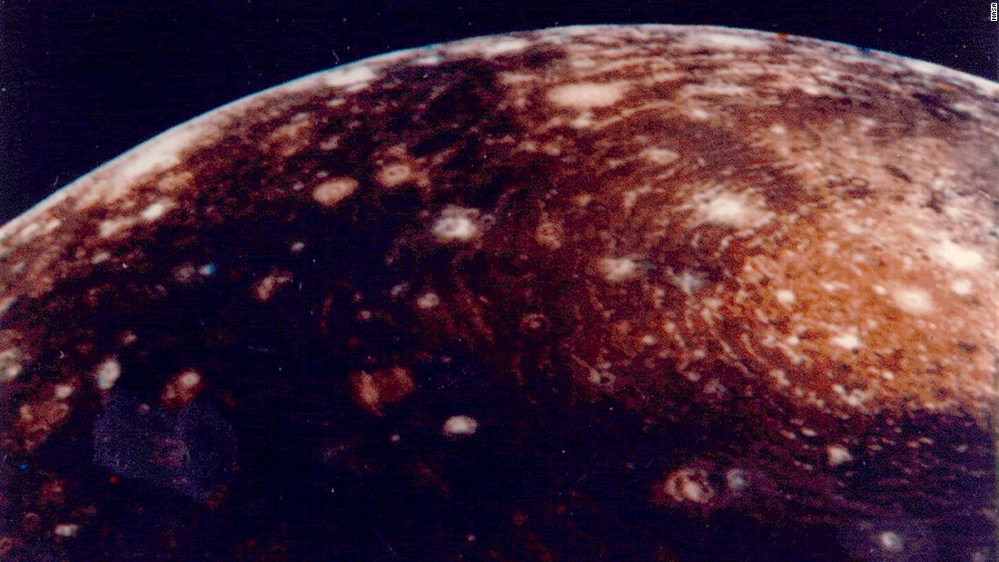 Voyager 1 captured this image of Jupiter's moon Callisto. Scientists have detected ice and carbon dioxide on its surface.