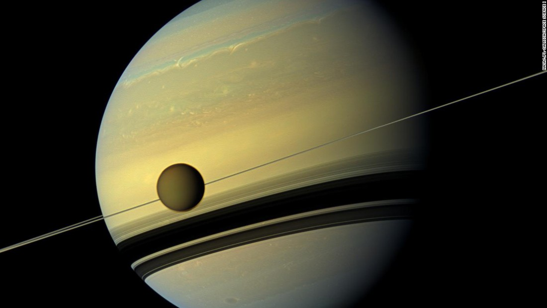 "NASA's Cassini mission has evidence of an ocean inside Saturn's largest moon, <a href=""http://science.nasa.gov/science-news/science-at-nasa/2014/02jul_saltyocean/"" target=""_blank"">Titan</a>, which might be as salty as the Earth's Dead Sea."