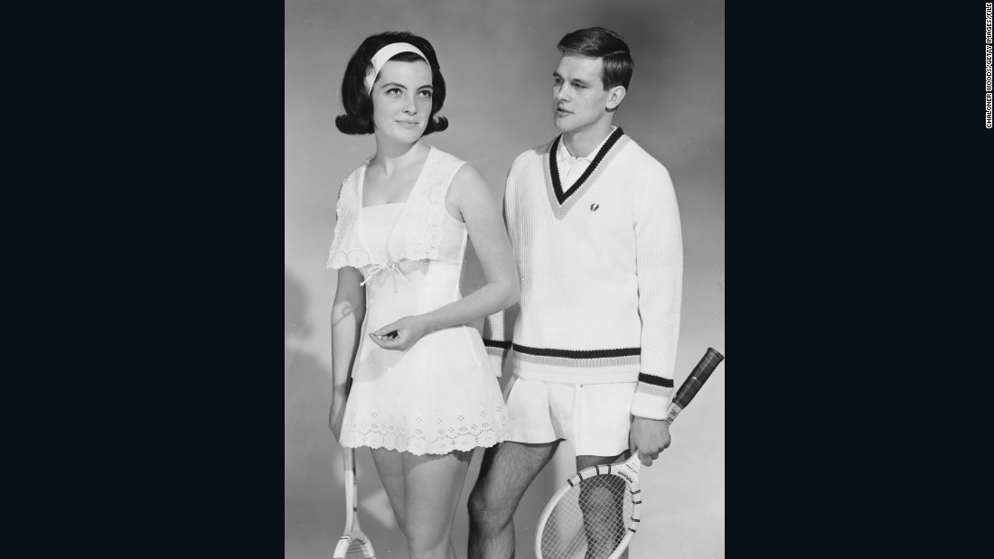 """You still see wooden tennis rackets showing up in clothing catalogs a fair amount today. It's become an iconic symbol of leisure, relaxation, wealth and elegance,"" says Rothenberg.<br />""You see models holding them over their shoulder with a sweater tied around their neck, and it's become a timeless, preppy prop.""<br />Here, two models show off their stylish sports attire in 1964."