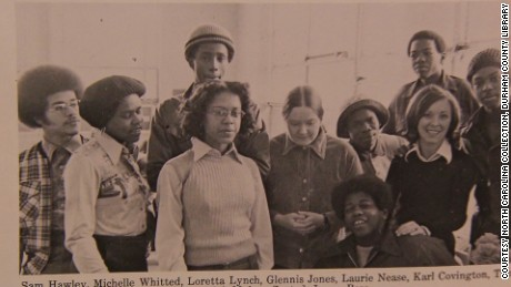 Loretta Lynch seen in a yearbook photograph.
