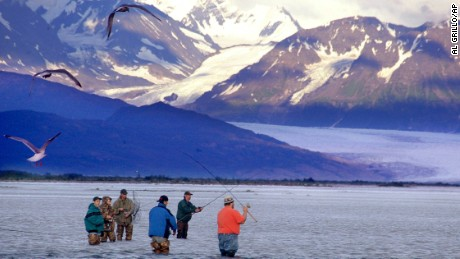 A group of fishermen with the Knik Glacier in the background in 2003.