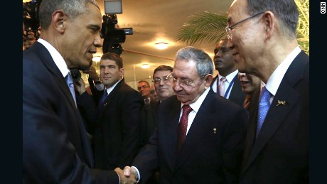 President Obama shakes hands with Cuban President Raul Castro on Friday, April 10, at the Summit of the Americas held in Panama City, Panama. Regional leaders are gathering in a historic Summit of the Americas that will see the US and Cuban presidents sit face to face for the first time in decades.