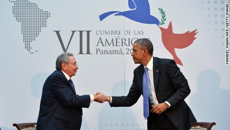 US President Barack Obama (R) shakes hadns with Cuba's President Raul Castro (L) on the sidelines of the Summit of the Americas at the ATLAPA Convention Center on April 11, 2015 in Panama City. AFP PHOTO/MANDEL NGAN        (Photo credit should read MANDEL NGAN/AFP/Getty Images)