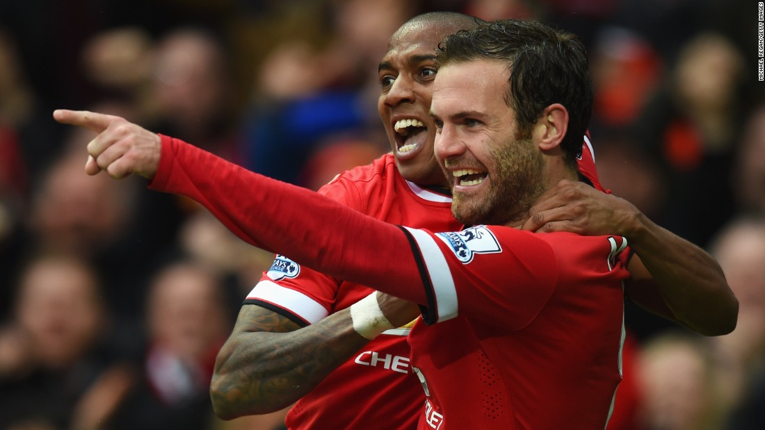 Ashley Young (left) earlier scored United's equalizer, while Juan Mata put United 3-1 ahead after the break.