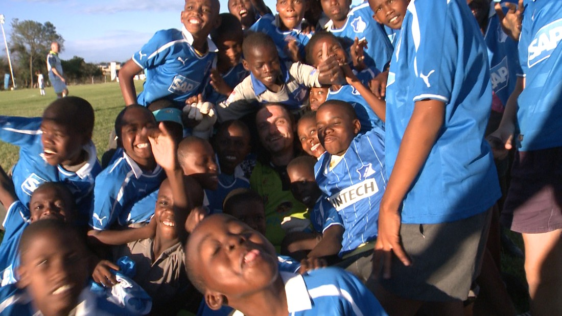 Having retired as a professional player, Pfannenstiel now works in international relations and scouting for German Bundesliga club TSG Hoffenheim, which donated the shirts worn by these children.