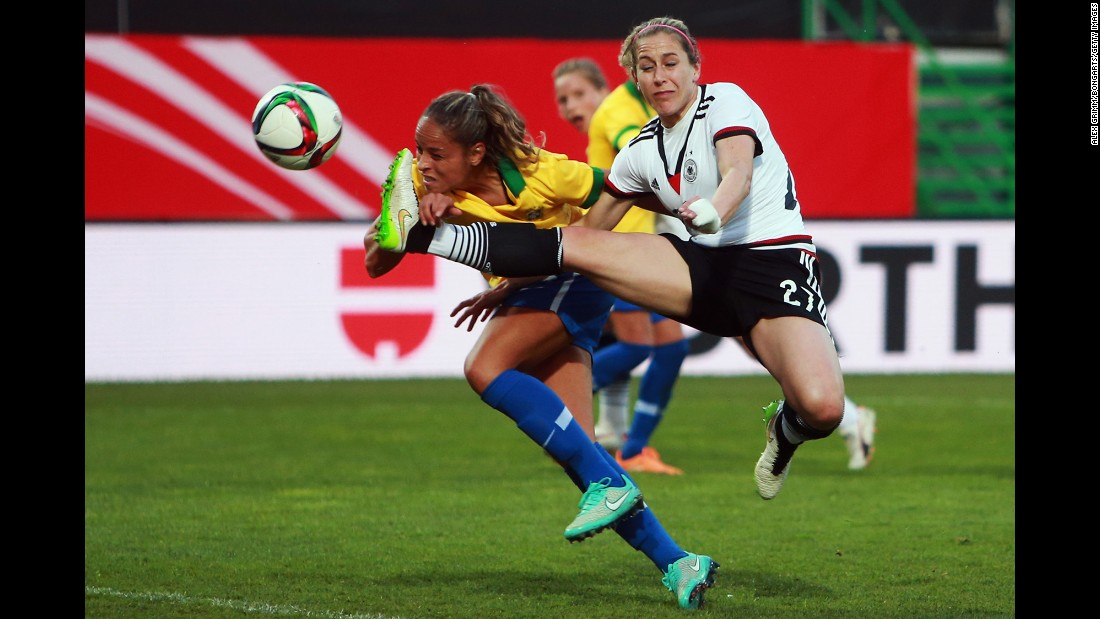 Germany's Anna Blasse, right, competes with Brazil's Monica during an international friendly played Wednesday, April 8, in Furth, Germany. Germany, the top-ranked team in the world, won the match 4-0.