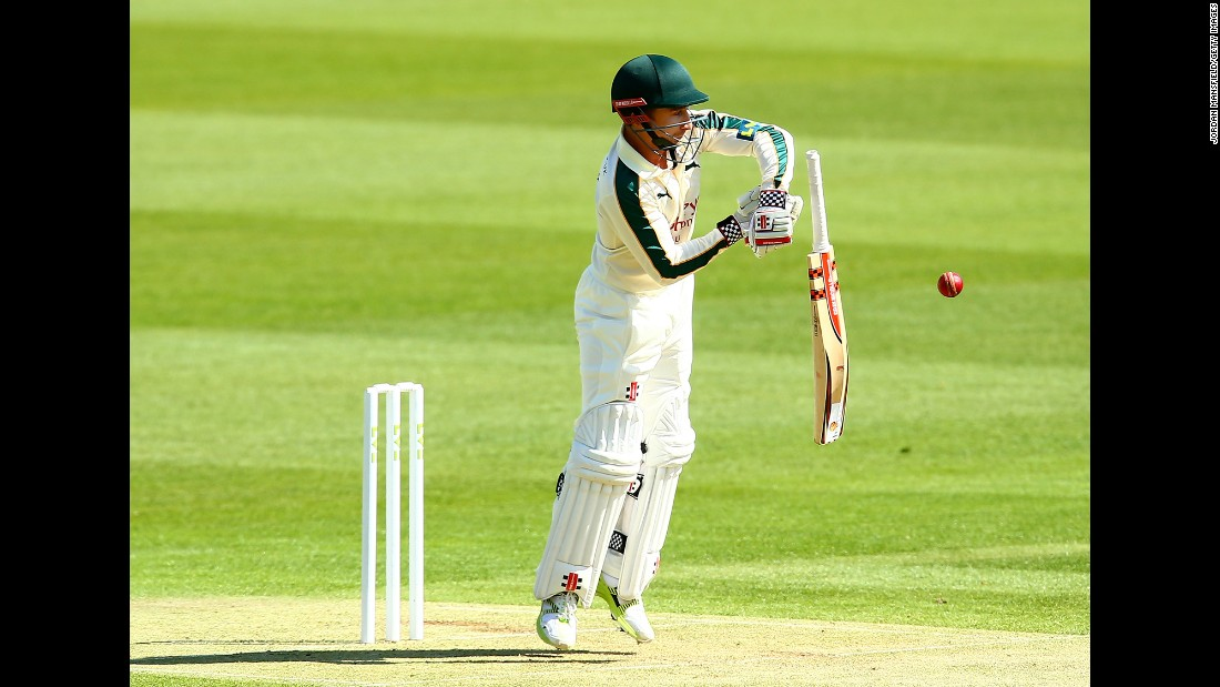 James Taylor, who plays for the Nottinghamshire cricket club in England, drops his bat during a County Championship match played Sunday, April 12, in London.