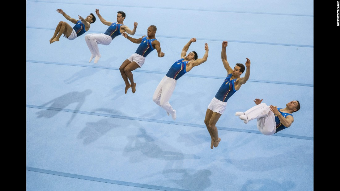 Members of the Spanish gymnastics team train together in Madrid on Thursday, April 9.