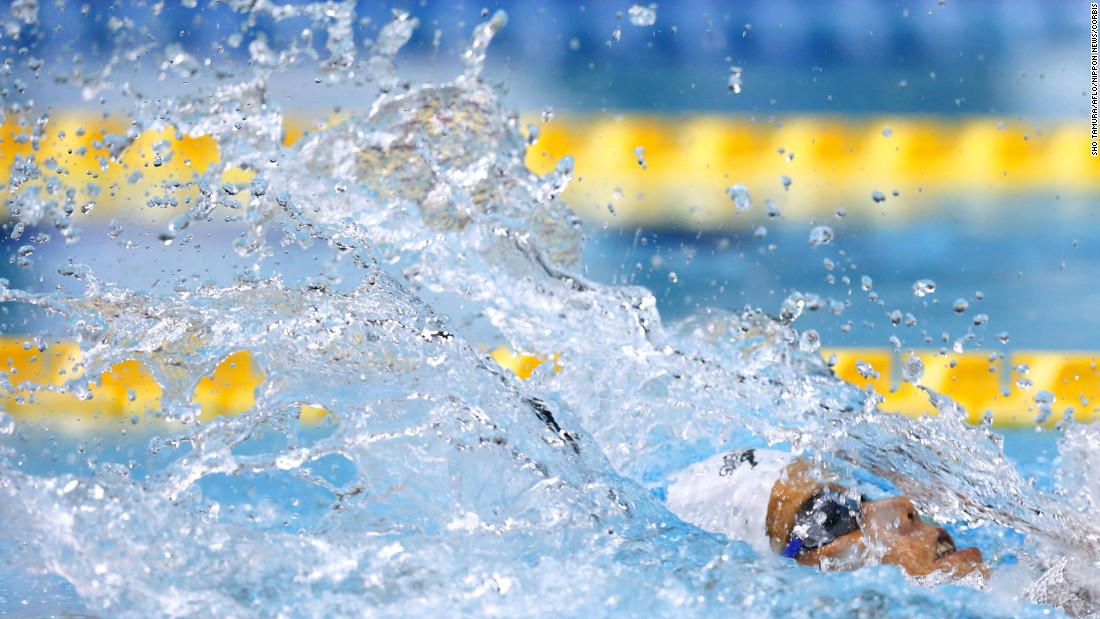 Noriko Inada swims in the 50-meter backstroke final, which she won Tuesday, April 7, at the Japanese National Championships.