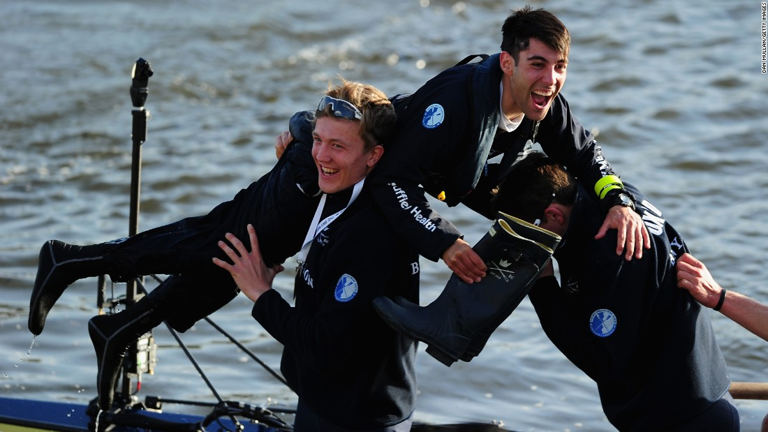 "Oxford University's Will Hakim is lifted out of the boat following his crew's victory in the annual <a href=""http://www.cnn.com/2013/04/01/sport/oxford-cambridge-boat-race/"" target=""_blank"">Oxford-Cambridge Boat Race</a> on Saturday, April 11. The rowing race, held in London's River Thames, has been held almost every year since 1829."