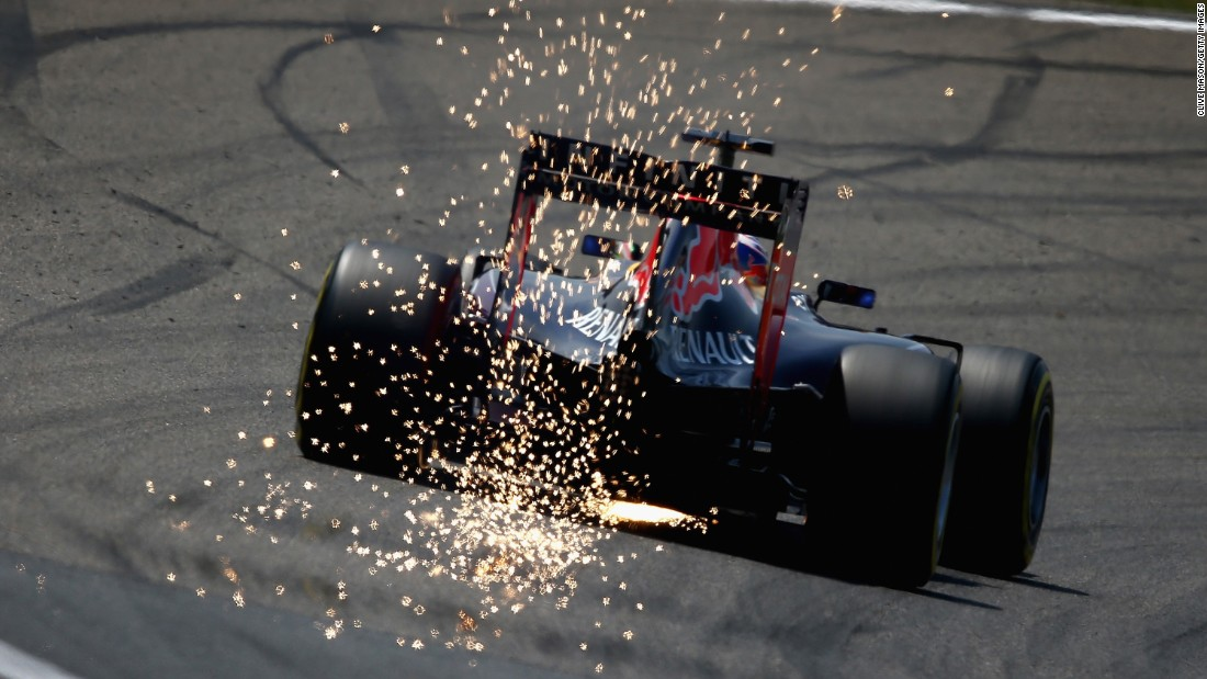 Sparks fly from Daniel Ricciardo's Formula One car during practice for the Grand Prix of China on Saturday, April 11.