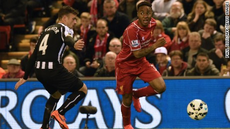 Liverpool's English midfielder Raheem Sterling scored against Newcastle to help secure a 2-0 win.