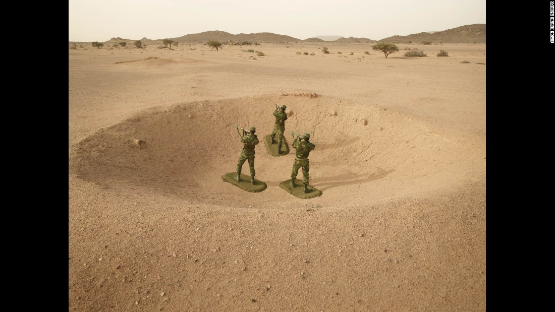 Real-life soldiers from Western Sahara are made to look like toy soldiers in a photo project by Simon Brann Thorpe. Western Sahara is a long-disputed region of northwestern Africa.