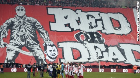 "In Belgium, fans of football team Standard Liege unfurled a giant banner depicting the severed head of an opponent on Janurary 25, 2015. The club condemned their actions as ""totally unacceptable."""