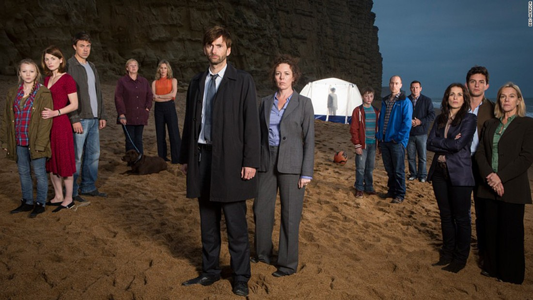 "David Tennant, left center, stars in the ""Broadchurch"" season finale at 10 p.m. ET Wednesday on BBC America."