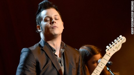 Jack White plays at a Bob Dylan tribute in February.