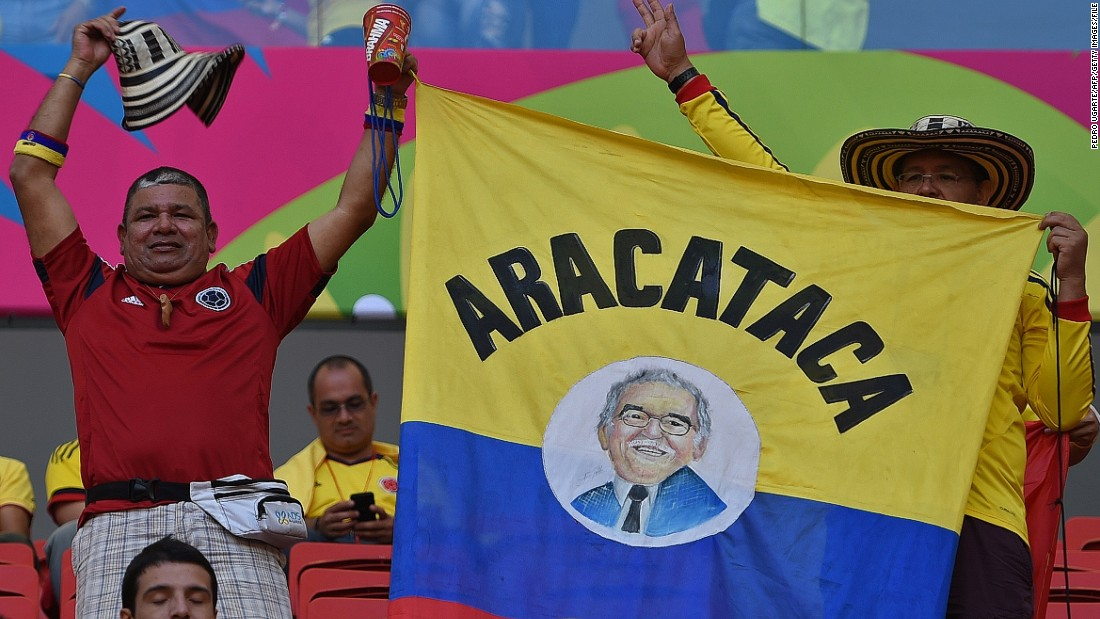 In memory of the literary great, supporters at the FIFA 2014 World Cup Group C football match between Colombia and Ivroy Coast in Brasilia waved a banner depicting Marquez and his place of birth, Aracataca.
