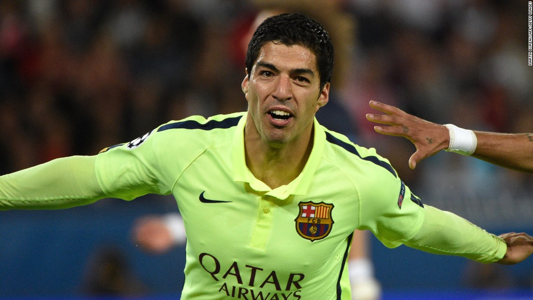 Luis Suarez scored two stunning second half goals for Barcelona in its 3-1 victory in Paris.